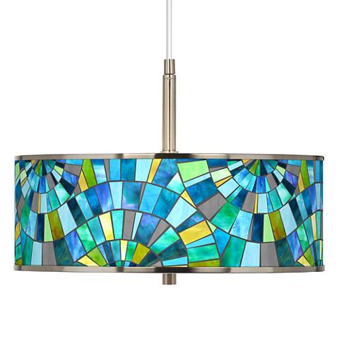 "Lagos Mosaic Giclee Glow 16"" Wide Pendant Light"