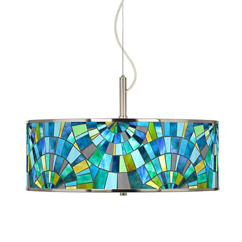 "Lagos Mosaic Giclee Glow 20"" Wide Pendant Light"