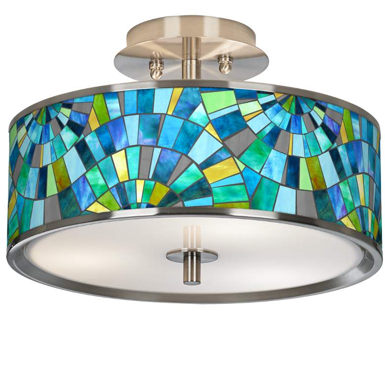"Lagos Mosaic Giclee Glow 14"" Wide Ceiling Light"