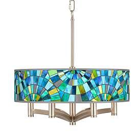 Lagos Mosaic Ava 6 Light Nickel Pendant Chandelier