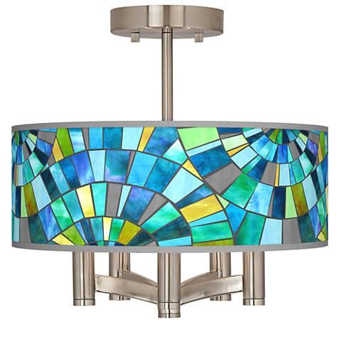 Lagos Mosaic Ava 5-Light Nickel Ceiling Light