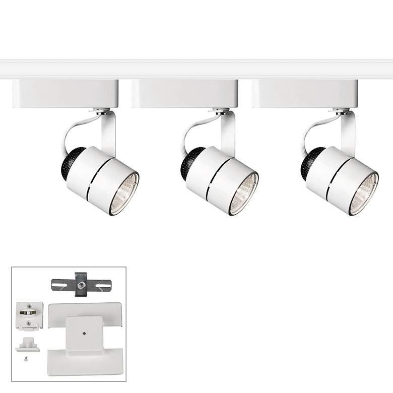Juno 3-Light Cylinder White Bullet Floating Canopy Track