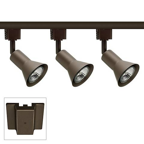 Trac-Lite 3-Light Flared Bronze Floating Canopy Track Kit