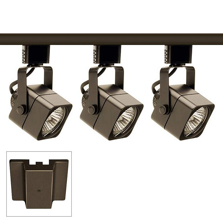 Trac-Lite 3-Light Bronze Cast Cube Floating Canopy Track