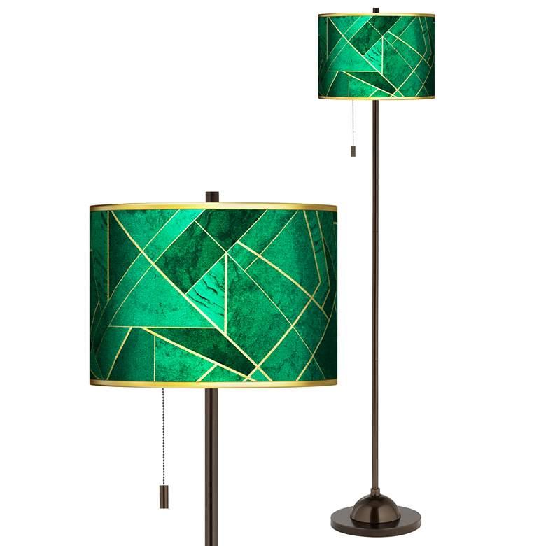 Emerald City Gold Metallic Giclee Glow Bronze Club Floor Lamp