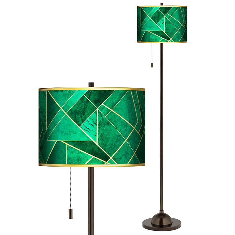 Emerald City Gold Metallic Giclee Glow Bronze Club Floor Lamp