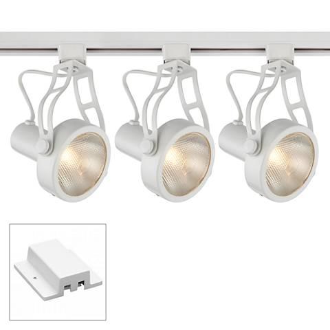 3-Light White Open Back Floating Canopy Track Kit