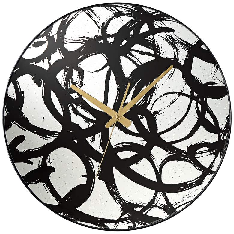 "Allana Black Print 17 3/4"" Round Mirrored Wall Clock"