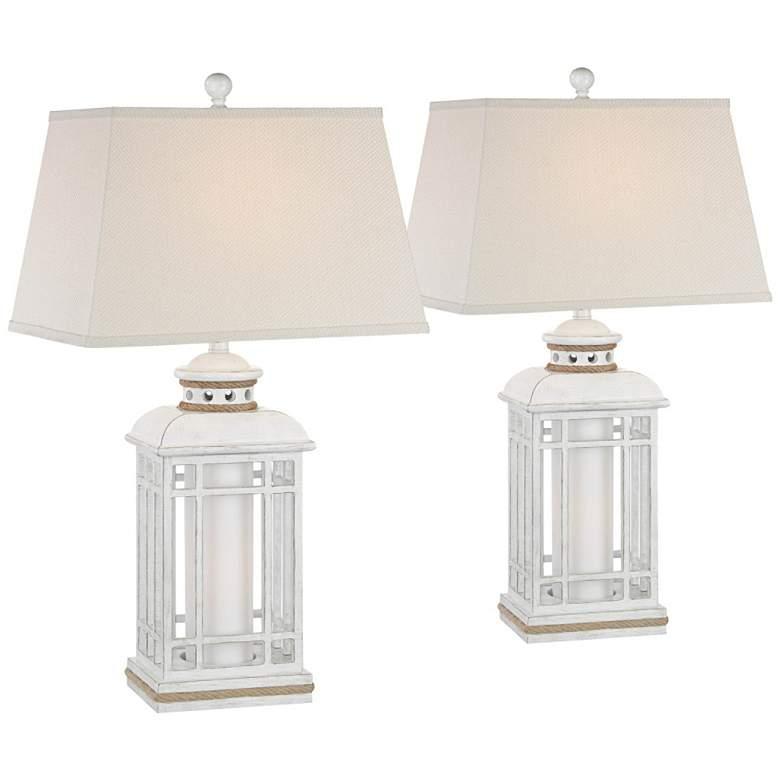 Bondi Coastal Lantern Night Light Table Lamps Set of 2