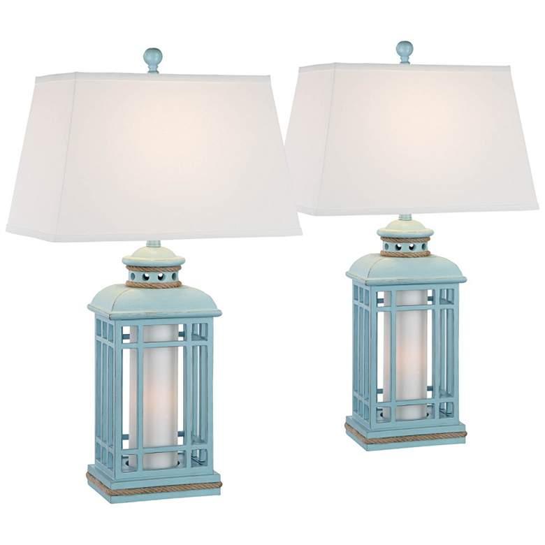 Bondi Glacier Blue Coastal Lantern Table Lamps Set