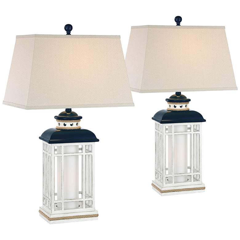 Bondi Coastal Lantern White-Blue Night Light Lamps Set of 2