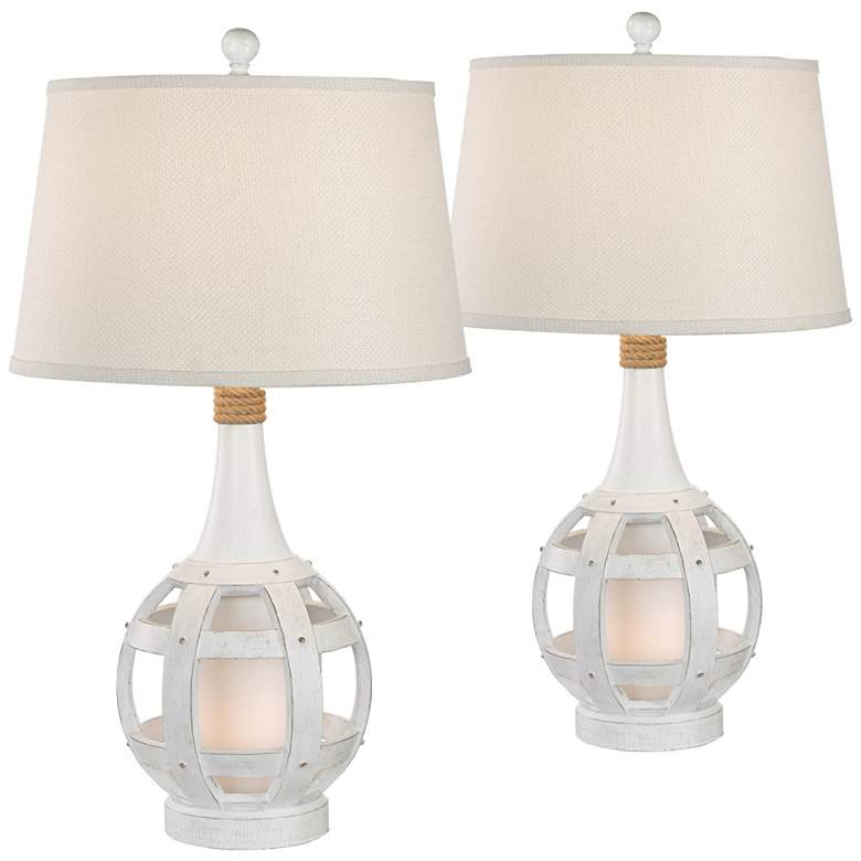 Anson Antique White Coastal Lantern Table Lamps Set