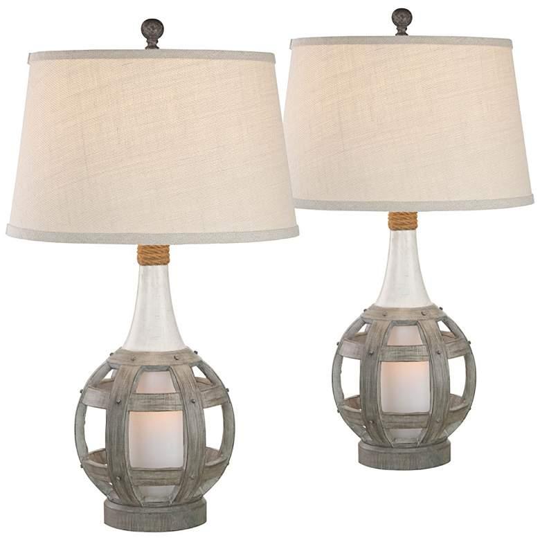 Anson Driftwood Coastal Lantern Table Lamps Set of 2