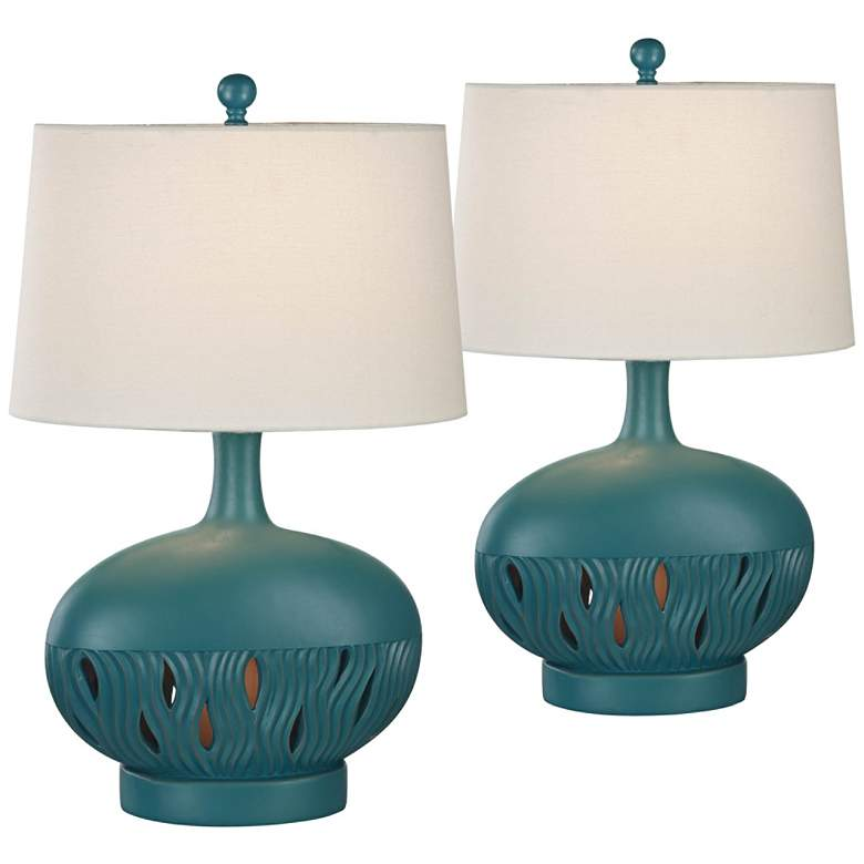 Brooke Largo Blue Night Light Table Lamps Set