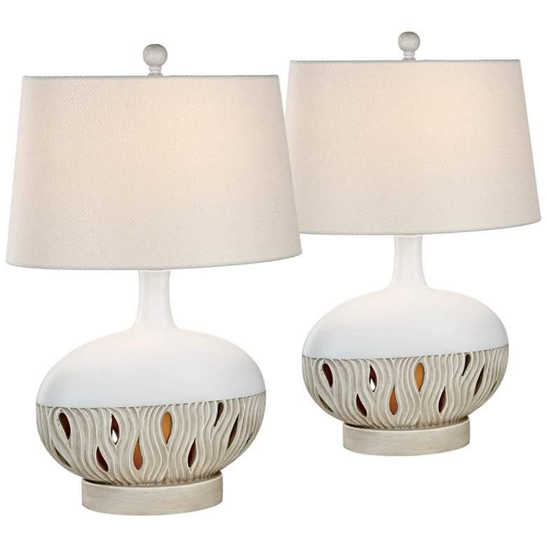 Brooke Oyster Matte Night Light Table Lamps Set