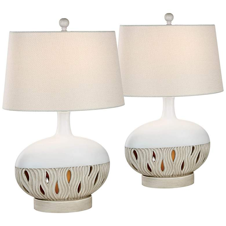 Brooke Oyster Matte Night Light Table Lamps Set of 2