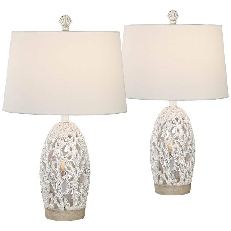 Cayman Antique White Coral Night Light Table Lamps Set of 2