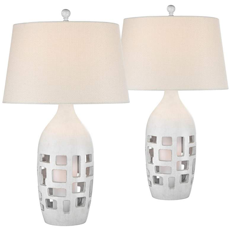 Finn Antique White Coastal Night Light Table Lamps