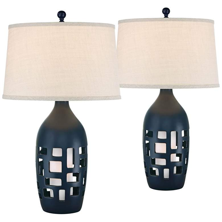 Finn Navy Blue Coastal Night Light Table Lamps Set of 2