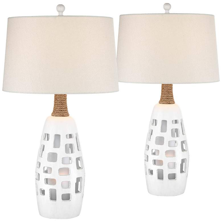 Gill Antique White Night Light Table Lamps Set