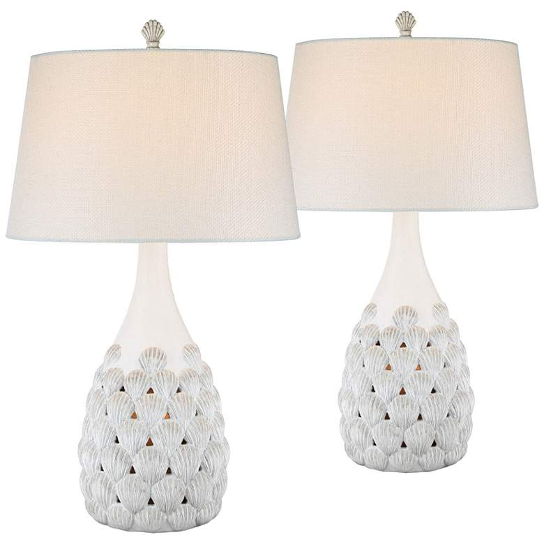 Conch Antique White Seashell Nightlight Table Lamps Set of 2