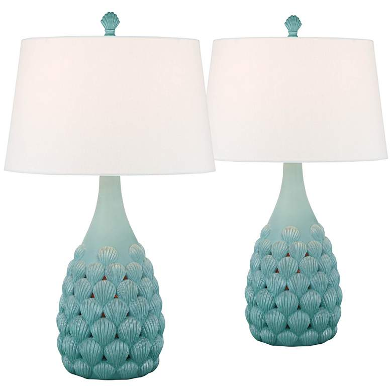 Conch Boca Seashell Night Light Table Lamps Set of 2