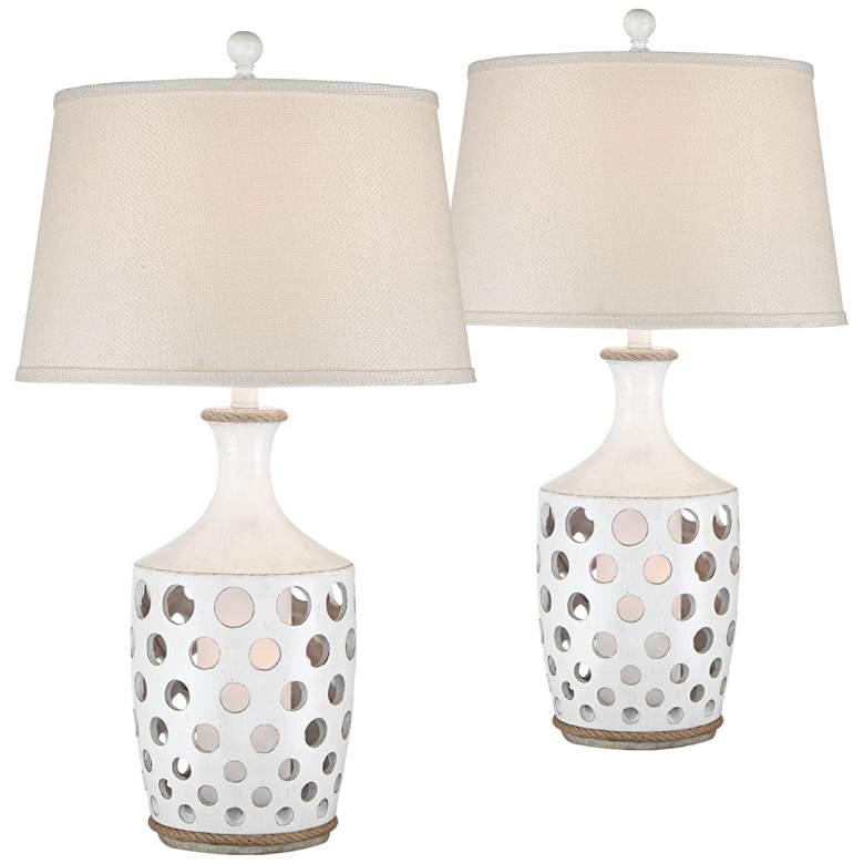 Darya Antique White Coastal Night Light Table Lamps Set of 2