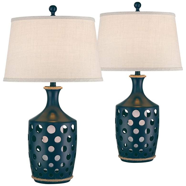 Darya Navy Blue Coastal Night Light Table Lamps Set of 2