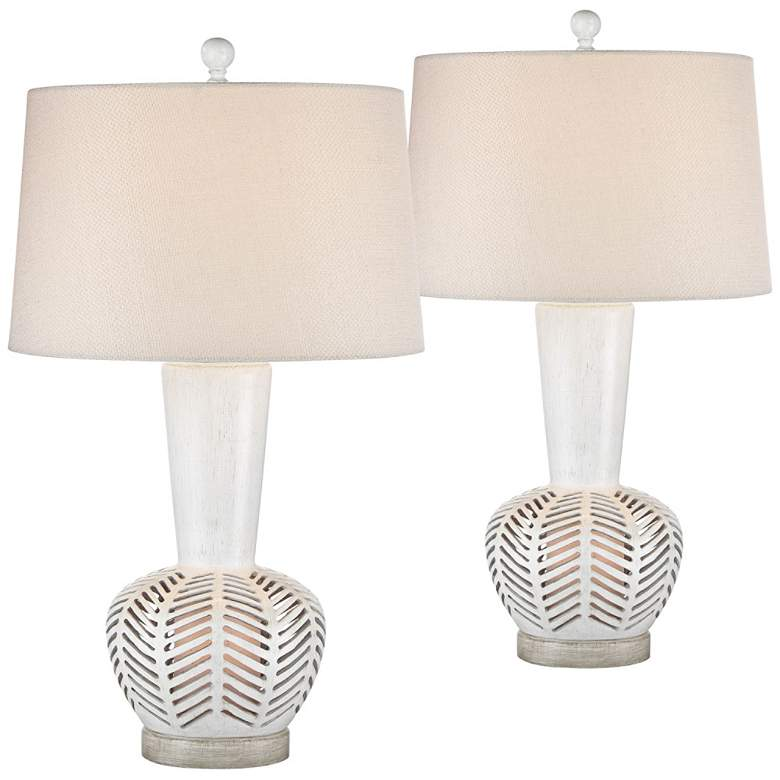 Bay Antique White Night Light Table Lamps Set
