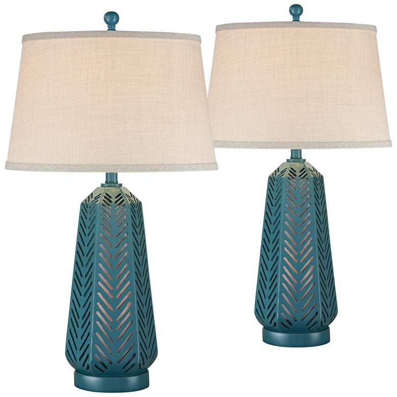 Crew Largo Blue Night Light Table Lamps Set
