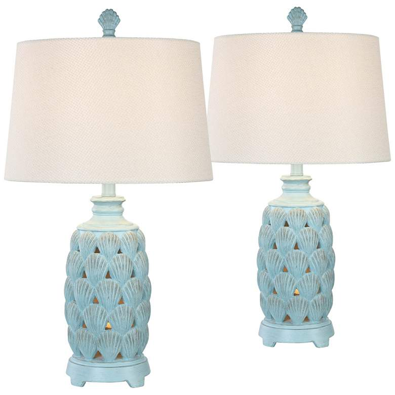 Cape Glacier Blue Coastal Night Light Table Lamps Set of 2