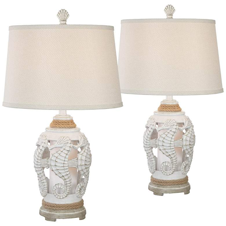 Isla Antique White Coastal Night Light Table Lamps Set of 2