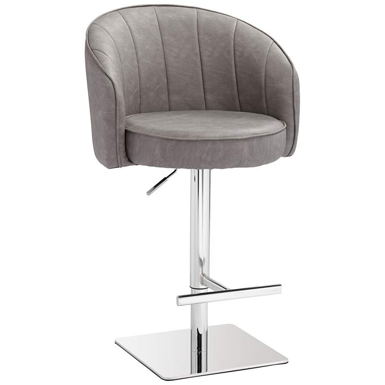 Chase Gray Faux Leather Swivel Adjustable Bar Stool