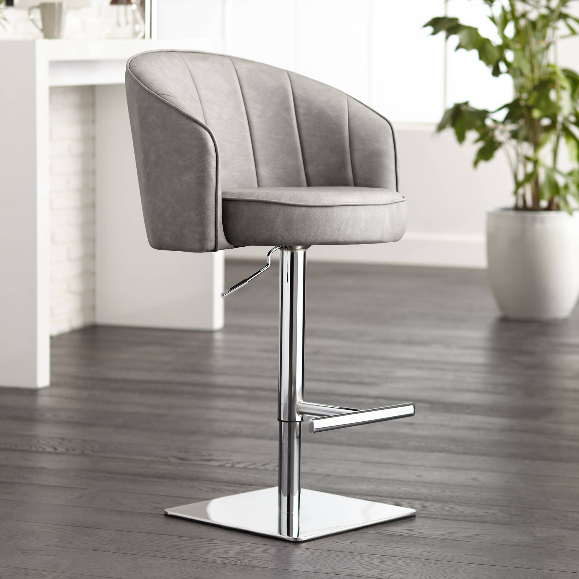 Awe Inspiring Details About Chase Gray Faux Leather Swivel Adjustable Bar Stool Pdpeps Interior Chair Design Pdpepsorg