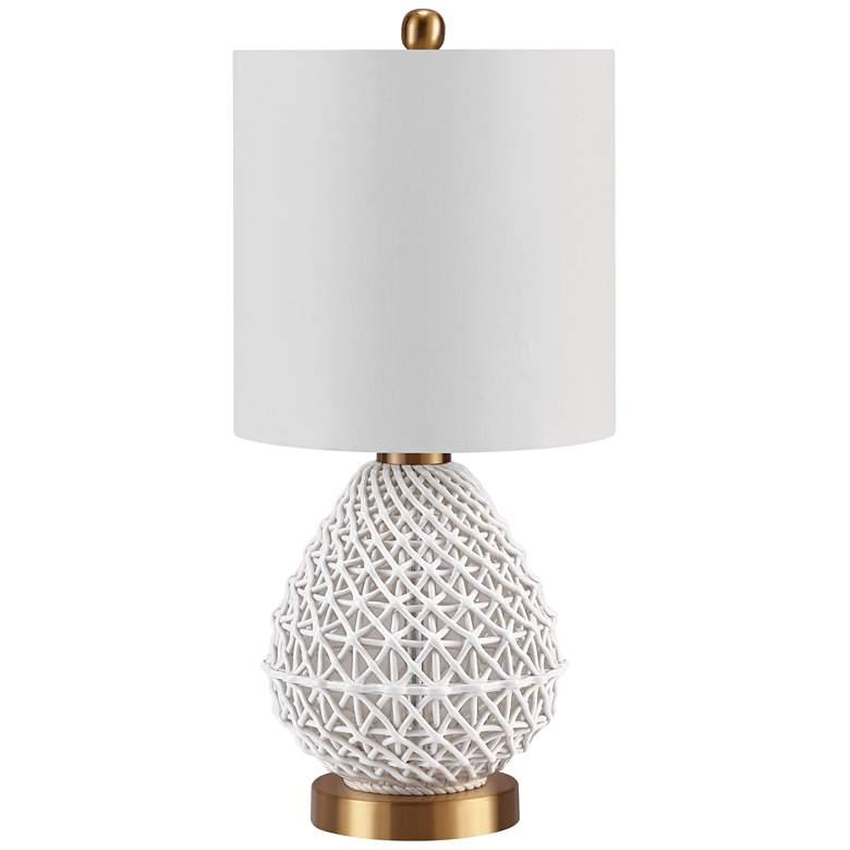 Melissa Hollow Ceramic Basket Weave Accent Table Lamp