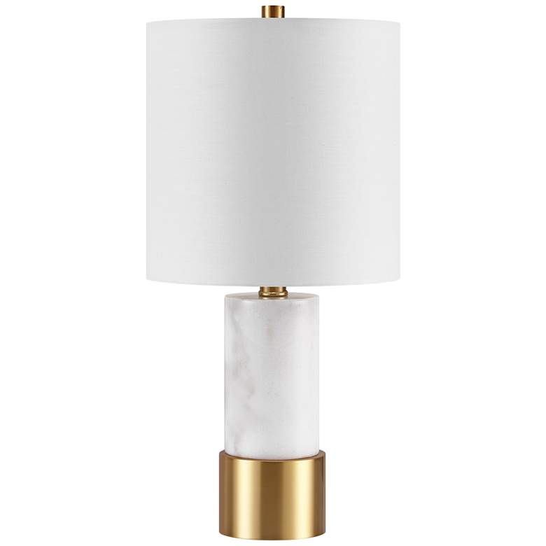 Paige White Marble with Brass Base Accent Table Lamp