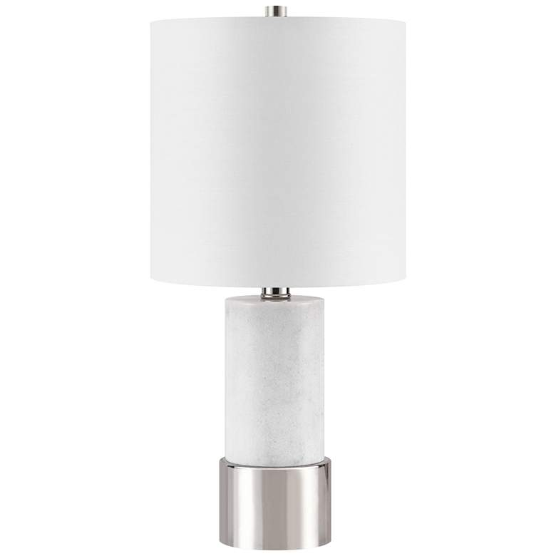 Paige White Marble w/ Polished Nickel Base Accent Table Lamp