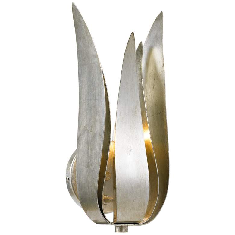 """Crystorama Broche 14"""" High Antique Silver Iron Wall Sconce"""