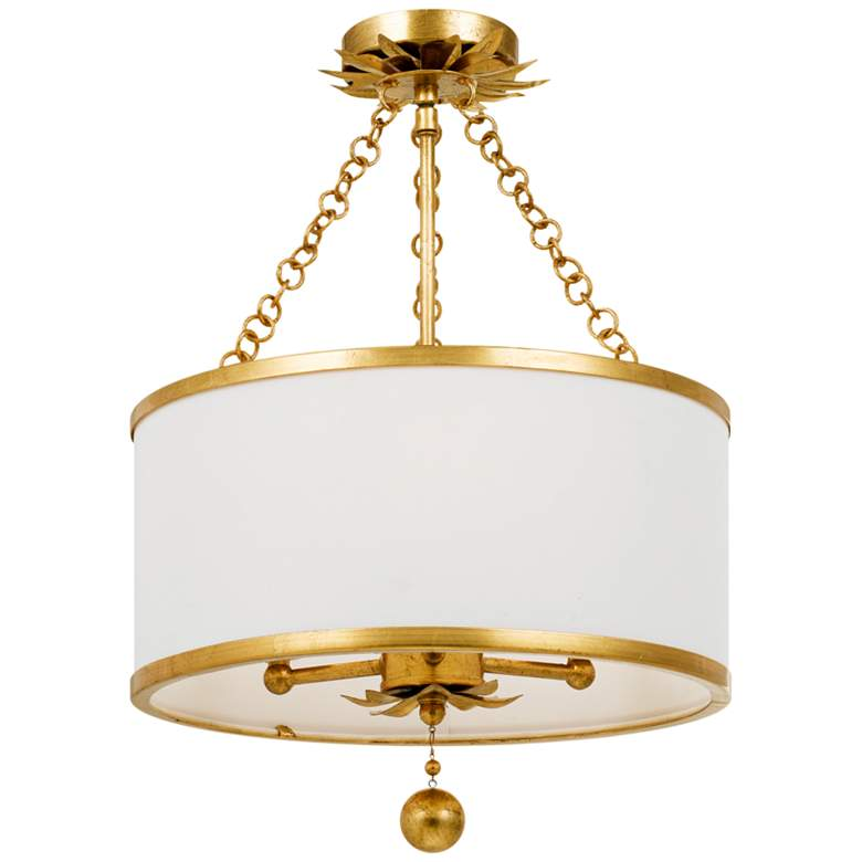 """Crystorama Broche 14"""" Wide Antique Gold Drum Ceiling Light"""