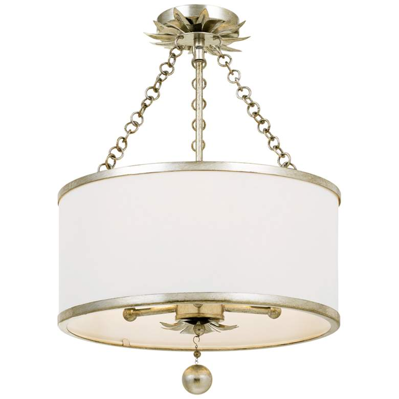 """Crystorama Broche 14"""" Wide Antique Silver Drum Ceiling Light"""