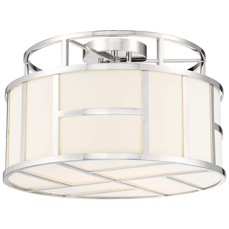 "Crystorama Danielson 16 1/2""W Polished Nickel Ceiling Light"