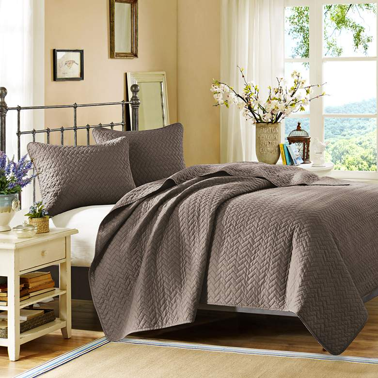 Hampton Hill Velvet Touch Taupe 3-Piece Coverlet Set