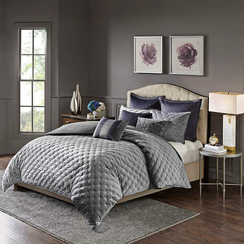 Sophisticate Gray Velvet 8-Piece Queen Comforter Set