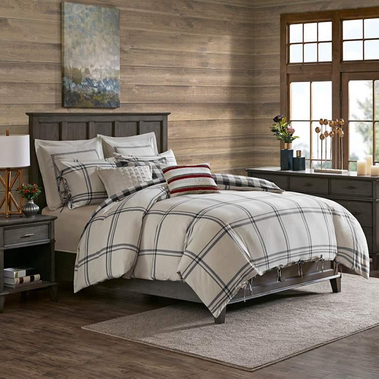 Willow Oak Gray 8-Piece Queen Reversible Comforter Set