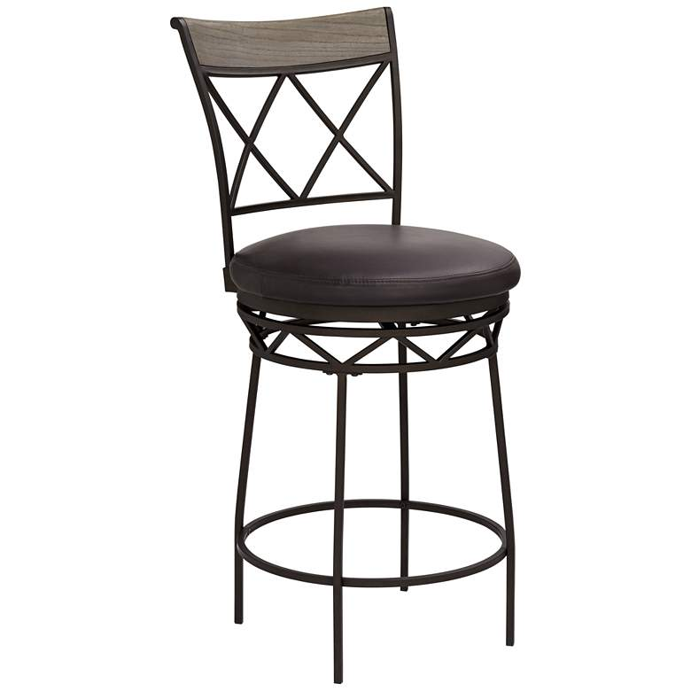 """Kelso 26"""" Gray and Black Swivel Counter Stool"""