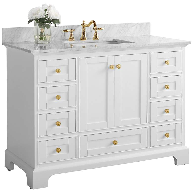 "Audrey 48""W White Marble Gold Hardware Single Sink"