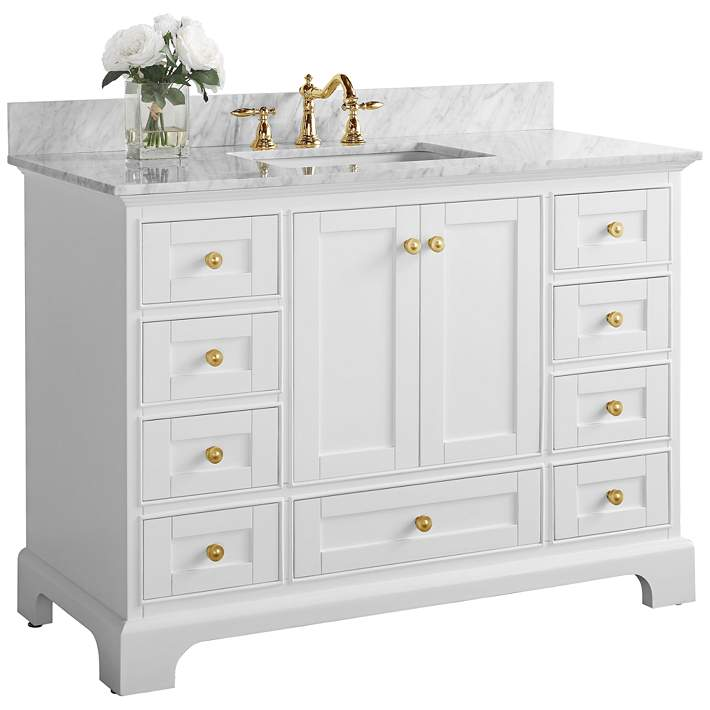 Audrey 48 W White Marble Gold Hardware Single Sink Vanity 62x10 Lamps Plus