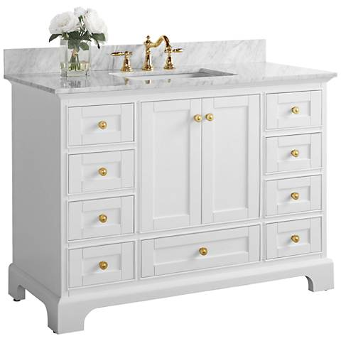 "Audrey 48""W White Marble Gold Hardware Single Sink Vanity"