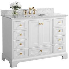 "Audrey 48""W White Marble Gold Hardware Single Sink Vanity"