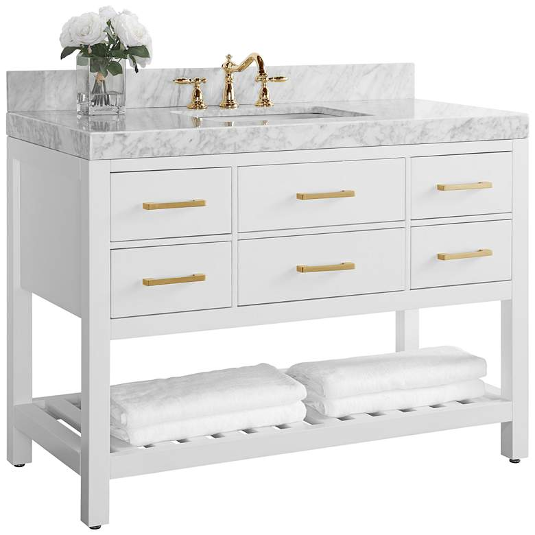 "Elizabeth 48""W Gold Hardware White Marble Single Sink"